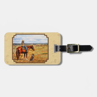 Little Cowgirl on Cattle Horse Yellow Bag Tag