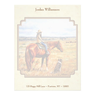 Little Cowgirl on Cattle Horse Yellow Letterhead