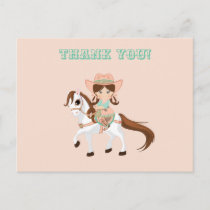 Little Cowgirl on Horse Girls Western Thank You Postcard