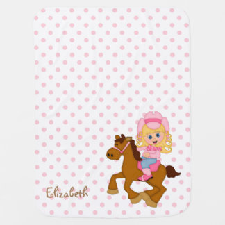 Little Cowgirl Personalized Receiving Blanket