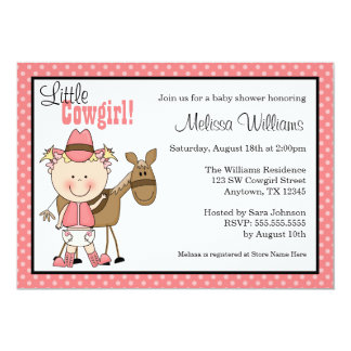 Little Cowgirl Polka Dots Baby Shower Invitations