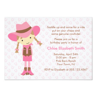 Little Cowgirl Western Birthday Party Card
