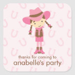 Little Cowgirl Western Birthday Party Square Sticker