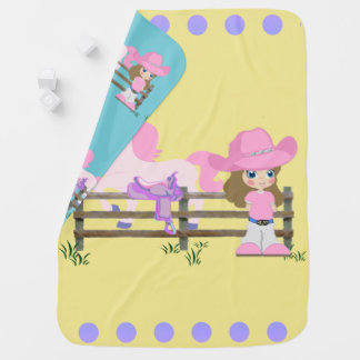 Little Cowgirl With Horse Fence and Saddle Receiving Blanket