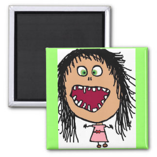 Little Crazy Eye Cartoon Girl 2 Inch Square Magnet