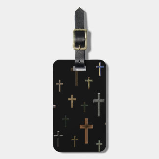 Little Crosses on Matte Black Luggage Tag