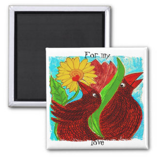 little crows in paradise 2 inch square magnet