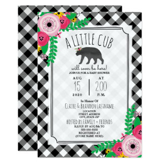 Little Cub Plaid Black + White Girly Baby Shower Card