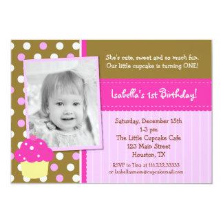 "Little Cupcake BIrthday Invitations 5"" X 7"" Invitation Card"