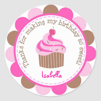 Little Cupcake Bithday Party Favor Stickers Labels