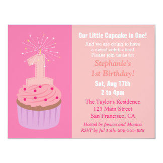 Little Cupcake is One, First Birthday Party, Pink Card