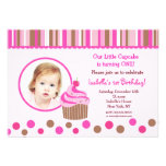 Little Cupcake Photo Birthday Party Invitations