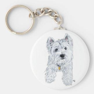 Little Curious Westie Basic Round Button Keychain