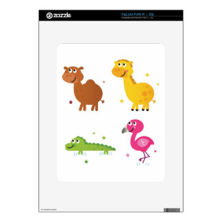 Little cute Animals on white / t-shirts Skin For iPad