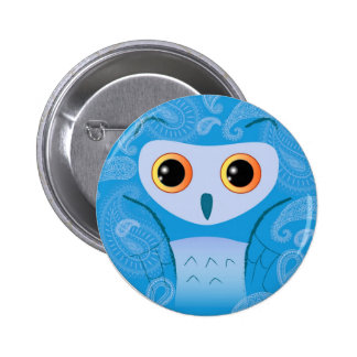 Little cute blue paisley owl pinback button