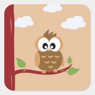 Little Cute Brown Owl Square Sticker