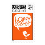 little cute chick happy easter orange postage