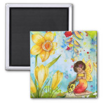 Little Cute Fairy with Yellow Ladybug Magnet