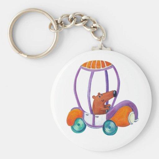 Little Cute Guy in Cute Car Basic Round Button Keychain