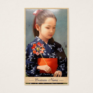 LIttle cute japanese girl kimono portrait painting Business Card
