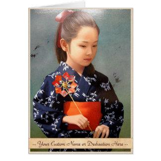 LIttle cute japanese girl kimono portrait painting Card