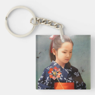LIttle cute japanese girl kimono portrait painting Double-Sided Square Acrylic Keychain
