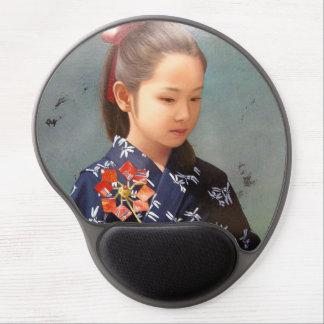 LIttle cute japanese girl kimono portrait painting Gel Mouse Pad