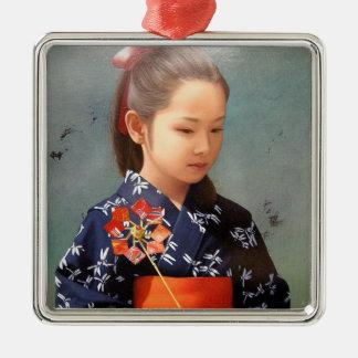 LIttle cute japanese girl kimono portrait painting Metal Ornament