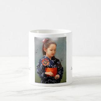 LIttle cute japanese girl kimono portrait painting Classic White Coffee Mug