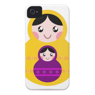 Little cute matroshkas : yellow, purple Case-Mate iPhone 4 case