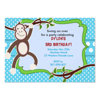 Little Cute Mod Monkey Personalized Birthday Invit Card