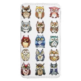 Little cute owls and cat watercolor pattern galaxy s4 pouch
