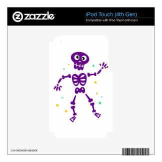 Little cute purple Dancing skeleton Skins For iPod Touch 4G