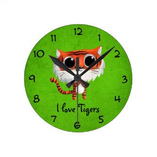 Little Cute Tiger Round Wallclock