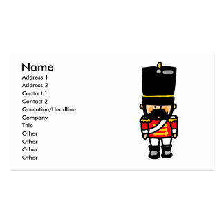 little cute toy soldier with mustache business card