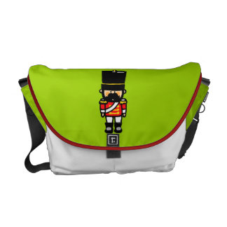 little cute toy soldier with mustache messenger bag