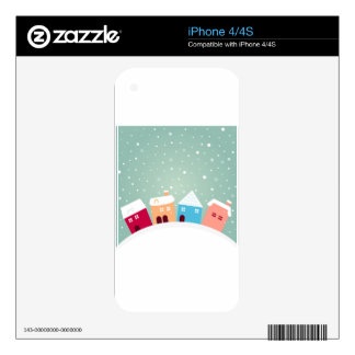 Little cute winter Homes. Original design Decal For The iPhone 4S