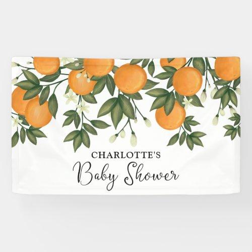 Little Cutie Baby Shower Citrus Orange Greenery Banner