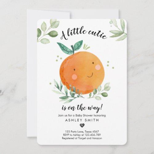 Little Cutie Baby Shower Greenery Gender Neutral Invitation