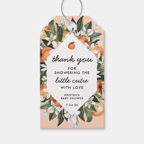 Little Cutie Baby Shower Thank You Gift Tags