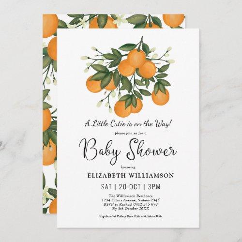 Little Cutie Botanical Citrus Oranges Baby Shower Invitation