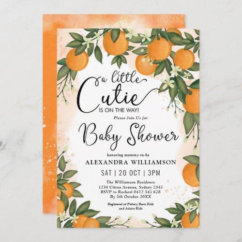 Little Cutie Clementine Orange Citrus Baby Shower Invitation