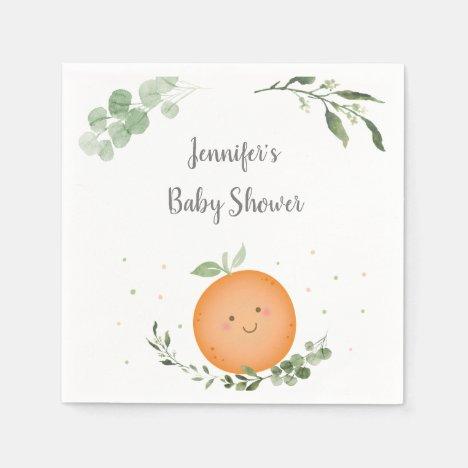Little Cutie Greenery Baby Shower Napkins