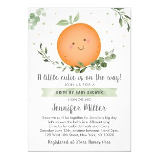 Little Cutie Peach Drive By Baby Shower Invitations Greenery