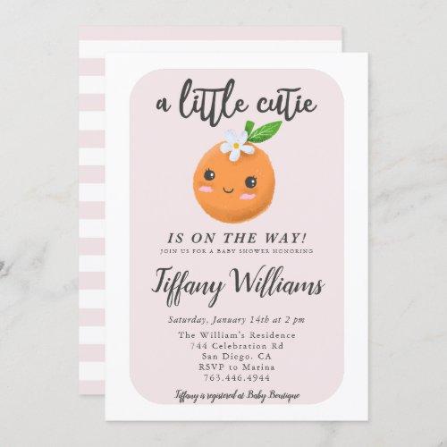 Little Cutie Pink Baby Shower Oranges Invitation