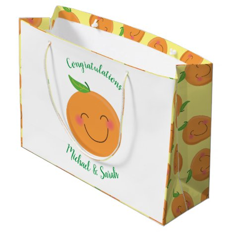 Little Cutie Tangerine Baby Shower Gender Neutral Large Gift Bag