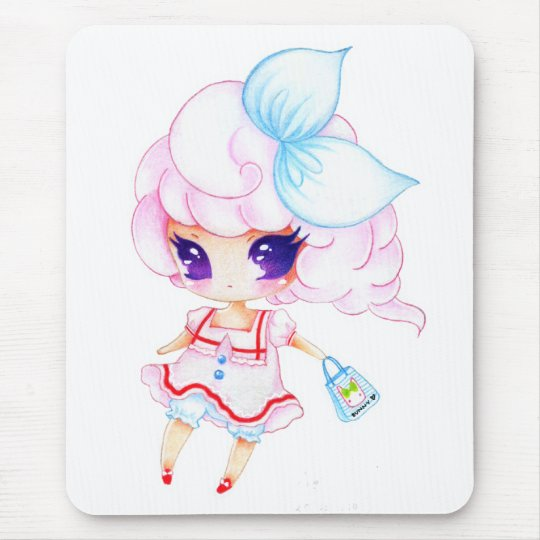 Little cutie with bunny bag mouse pad