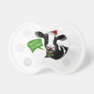 Little Dairy Farmer MOOrry Christmas Cow BooginHead Pacifier