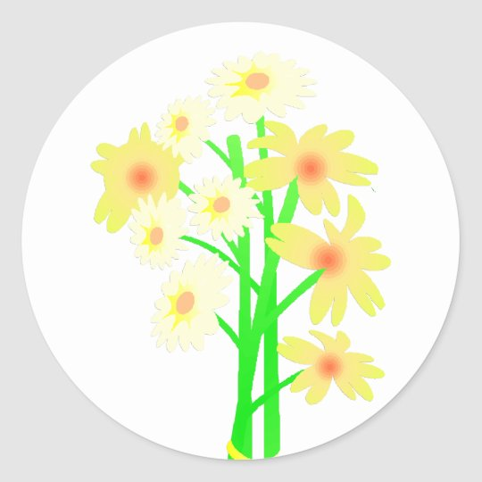 Little Daisy Bouquet Classic Round Sticker
