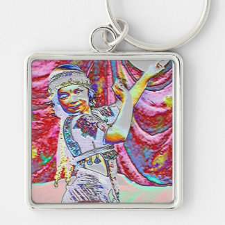 Little Dancer Silver-Colored Square Keychain